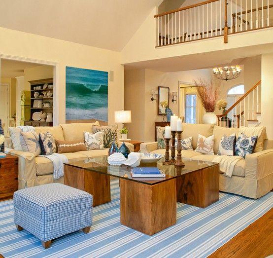 Wohnzimmer ideen braun blau  Strandfeeling Zimmer marine blau braun | Dream House | Pinterest ...