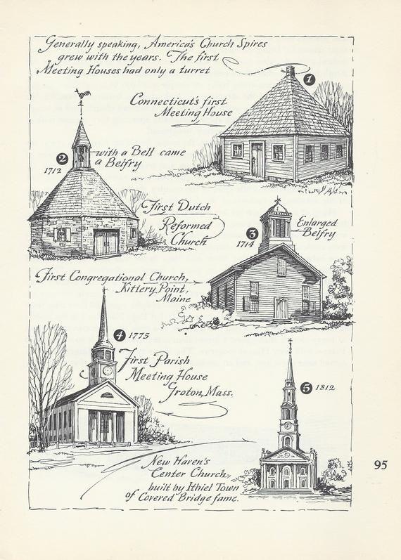 Early American Church Spires, Vintage Print, Meeting Houses