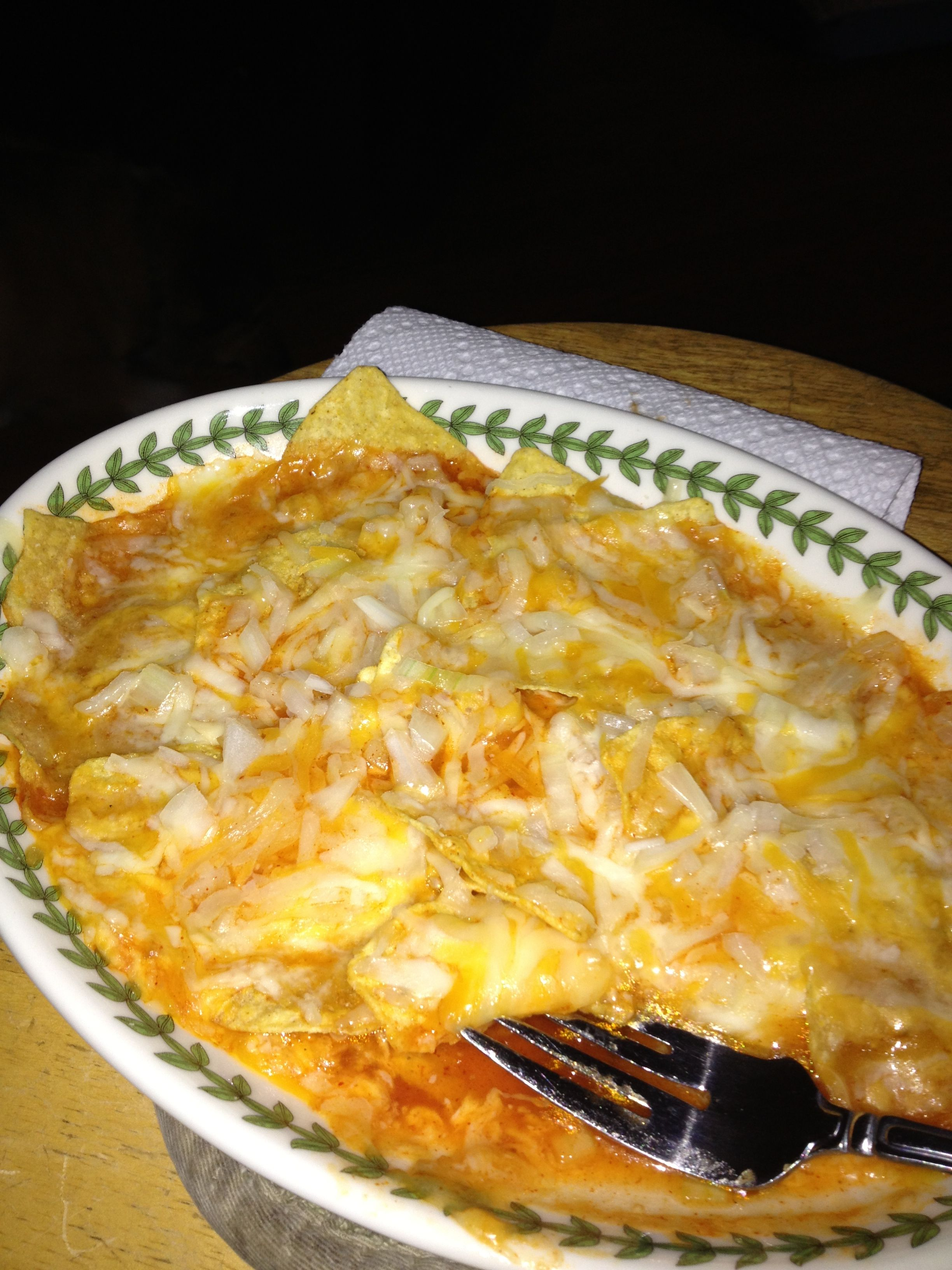 Dorm room enchiladas tortilla chips enchilada