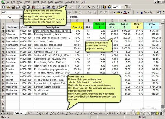 RemodelCost Estimator for Excel \u2013 measuring cost data   www - Pricing Spreadsheet Template
