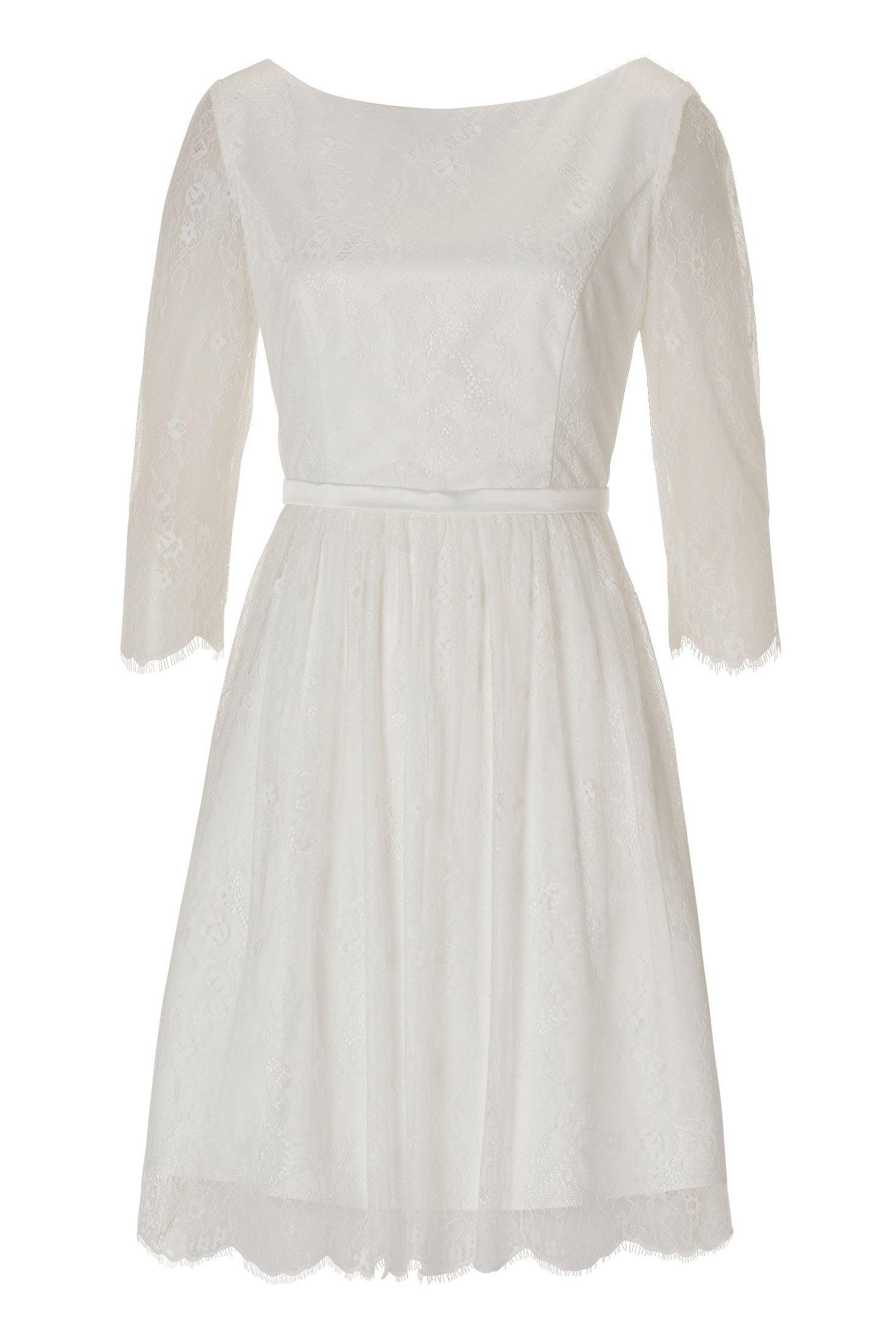 Kurzes Standesamtkleid mit langen Ärmeln von Vera Mont.  Kleid
