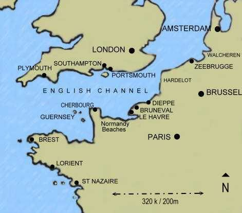 Map of England and France showing Guernsey in \