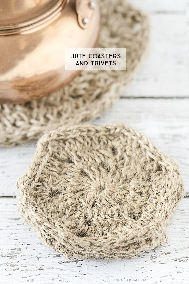 Rustic crochet jute coasters and trivets. Perfectly simplistic, yet ...