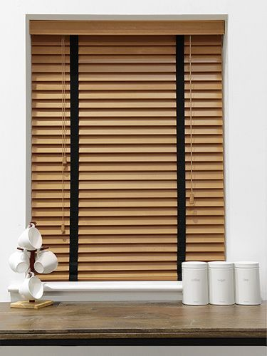 English Oak Amp Obsidian Wooden Blind With Tapes 50mm Slat
