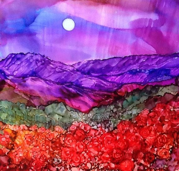 Items similar to Mountain roses by Teri Jones. This is a print of an alcohol ink painting. Archival inks and papers have been used . on Etsy