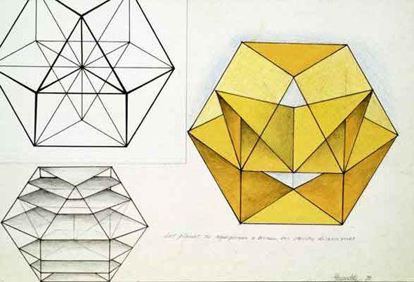 Dibujo para estructura volante cuboctaédrica, 1978
