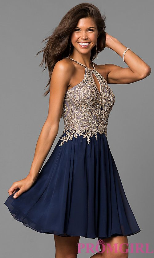 fcb11c0dc640 Short High-Neck Dave and Johnny Homecoming Dress in 2019 | hoco week ...