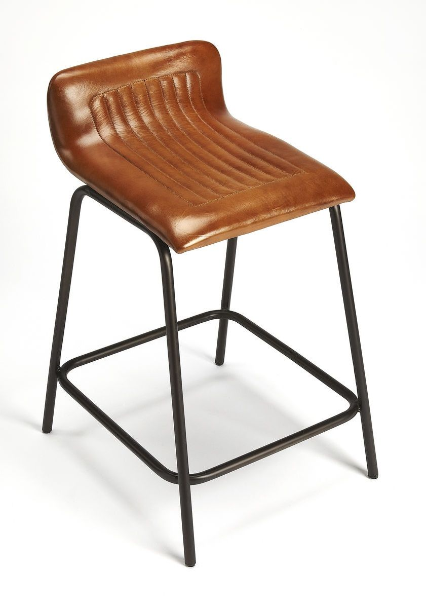 Brown Leather Aviator Style Half Back Counter Bar Stool In 2021 Bar Stools Counter Bar Stools Round Back Dining Chairs