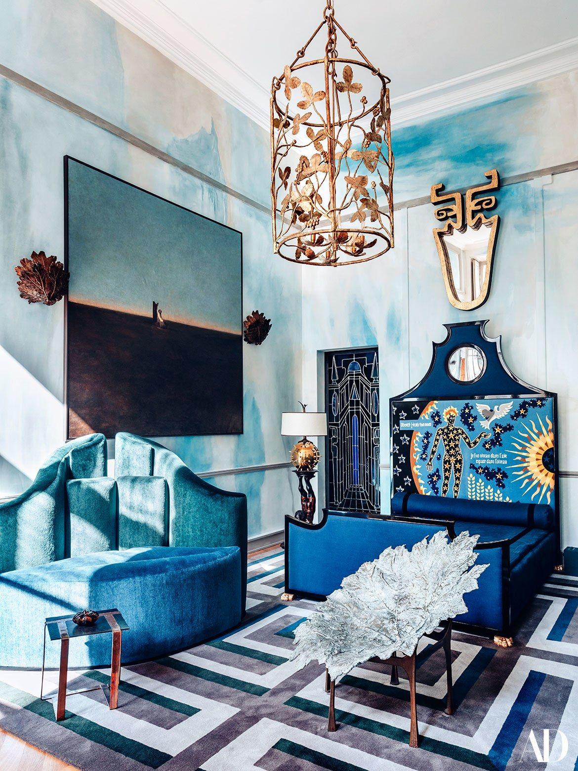 Living room at the home of designer vincent darré in paris france
