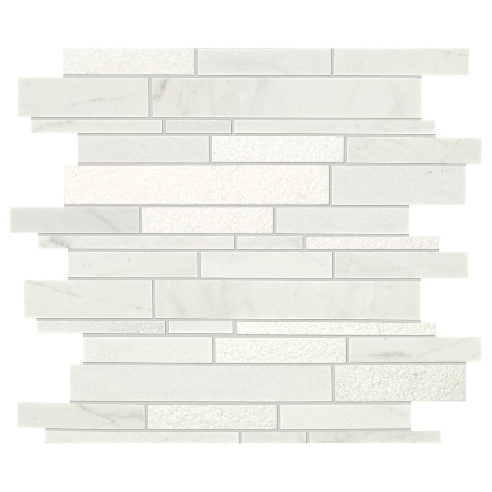 Daltile Stone Decor Glacier 12 In X 14 10 Mm Marble Linear Mosaic Tile