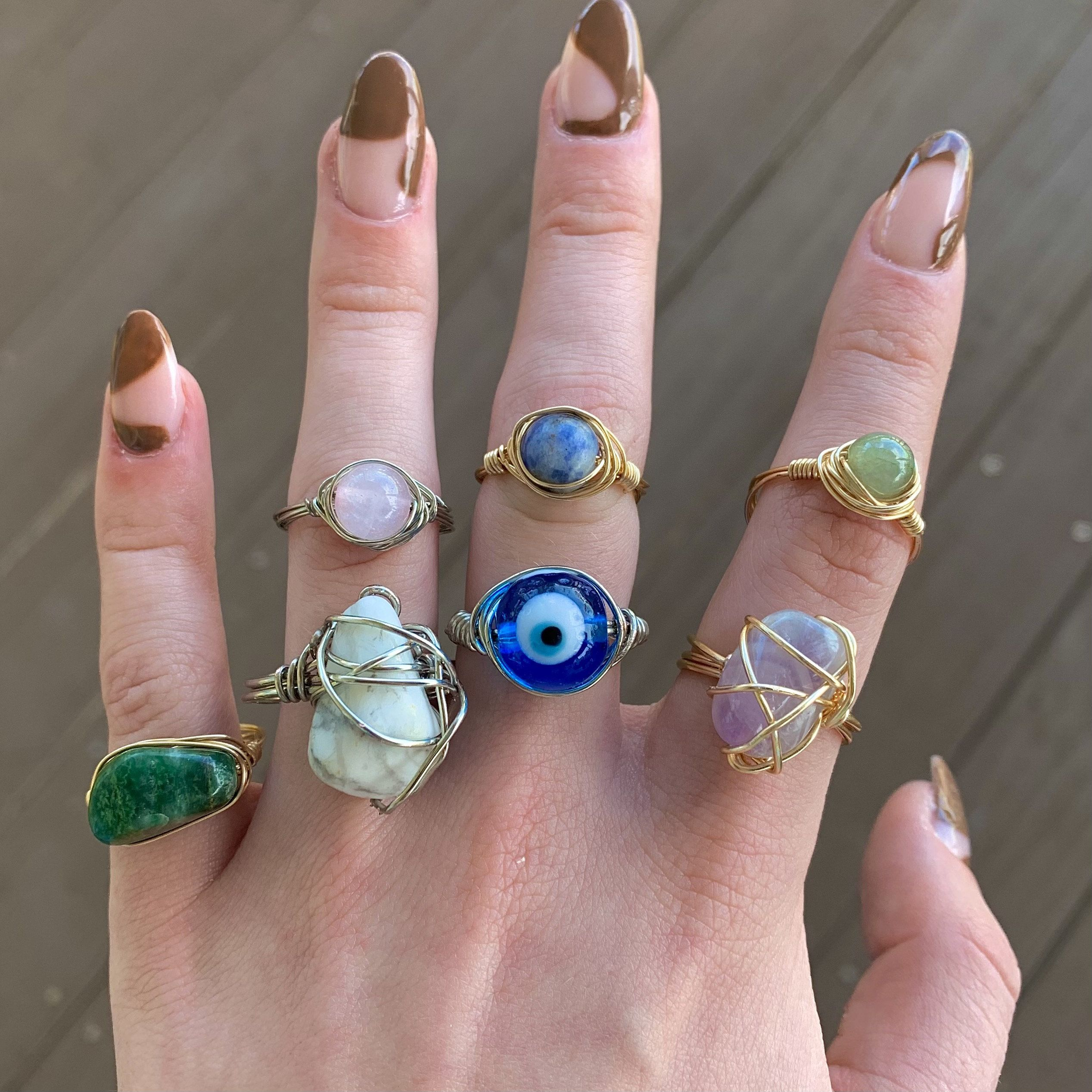cute aesthetic wire wrapped handmade ring trendy aesthetic wire ring cute