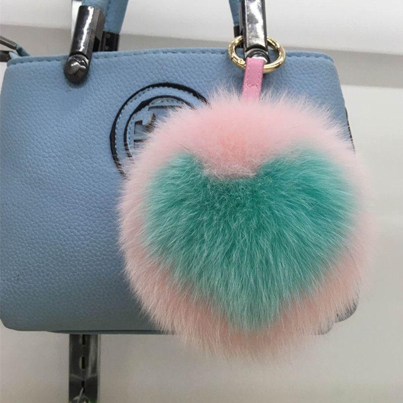 Luxury Llavero 15cm Big Fluffy Handmade Alphabet Real Fox Ball Keyring Fur  Pom Pom Key Chain 33692b6e52