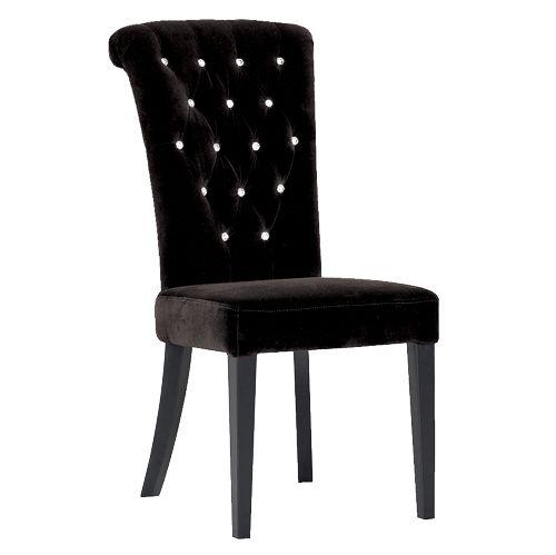Black Velvet Button Back Dining Chair (H105 x W49 x D69cm) [EXI0444 ...