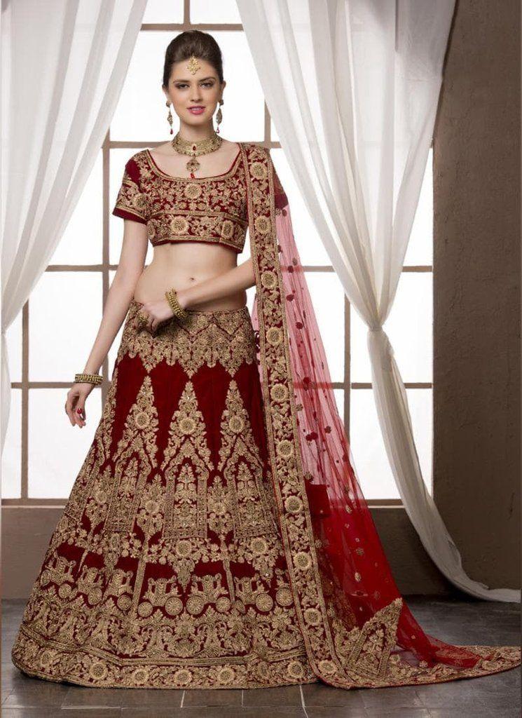 Maroon Velvet Circular Lehenga Style Indian Wedding Dresses