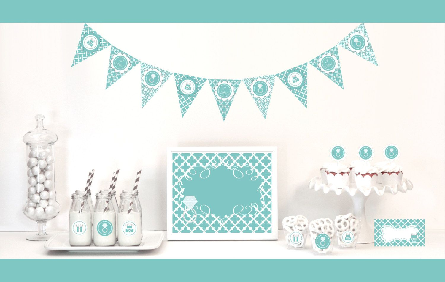 Aqua Blue Bridal Shower Decorations and Supplies KIT by ...
