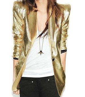 Women in menswear inspired outfits -- gold tuxedo jacket with white t-shirt  and dark denim 5763881065