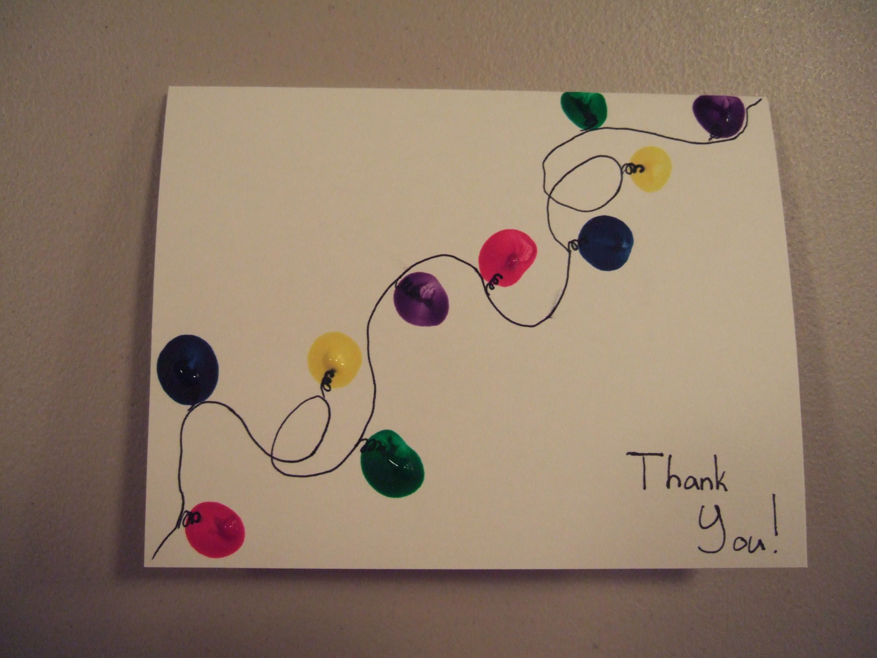 Ideas For Making Christmas Cards At Home Part - 25: Home-made Christmas Thank You Card That My Daughter Made. Fun, Easy,