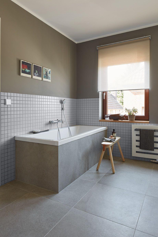 Privathaus Bonn Badezimmer Agrob Buchtal Fliese Trias Zinkgrau 60x60 Mosaik Serie Plural Lichtgrau 5x5 Badezimmer Fugenloses Bad Badezimmerideen