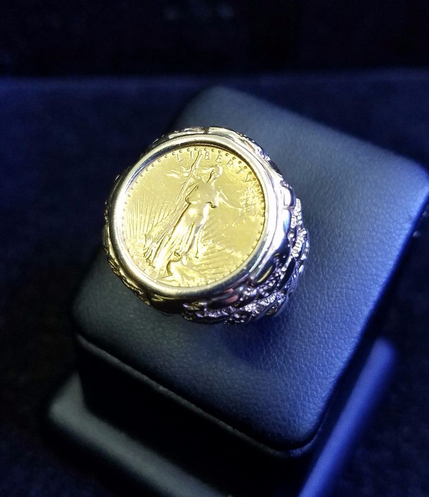 10k Gold Men S 22 Mm Nugget Coin Ring With A 22 K 1 10 Oz American Eagle Coin Handmade Coinring Coin Ring Rings Eagle Coin