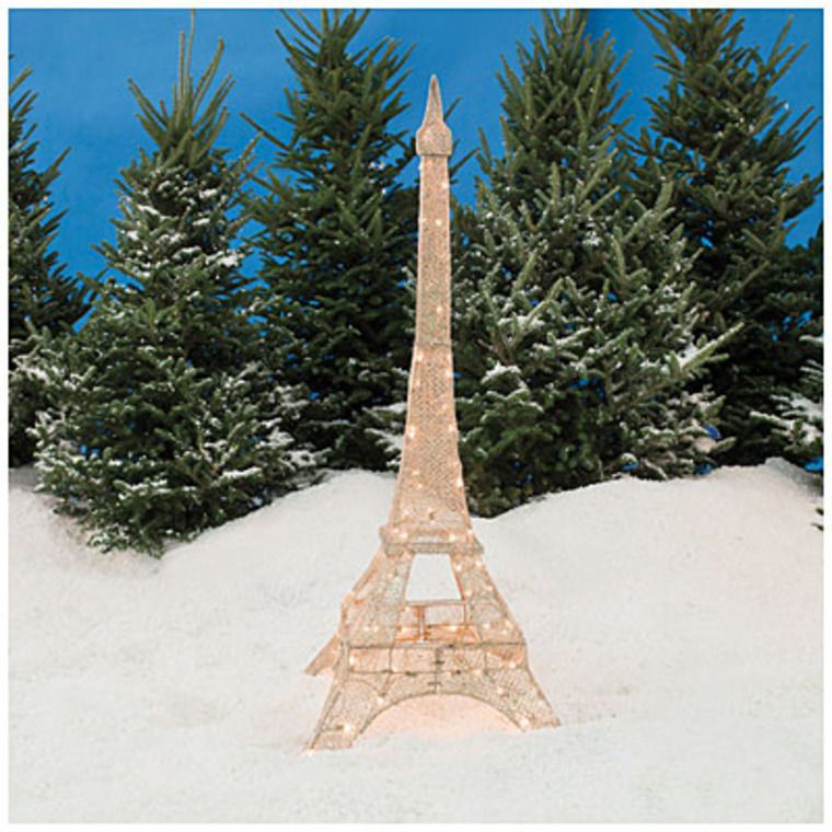 5\u0027 Champagne Glittering Gold Eiffel Tower Mesh Christmas Outdoor