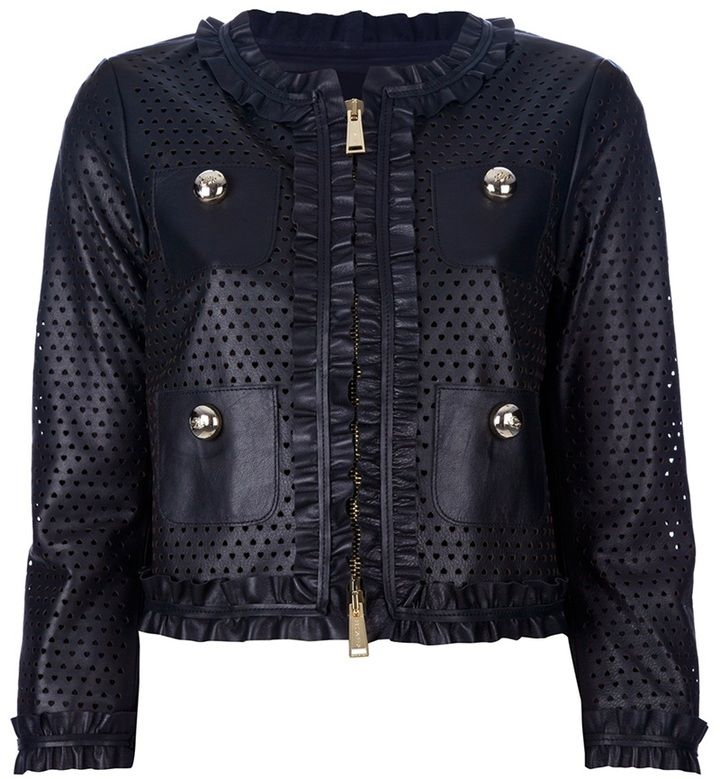 DSquared cropped perforated leather jacket on shopstyle.com