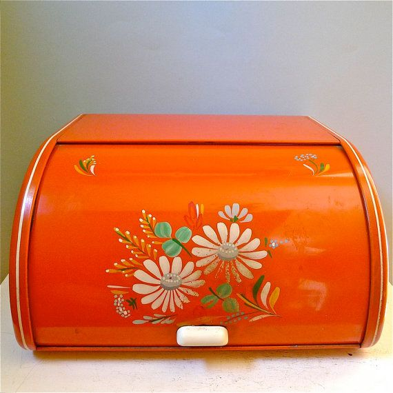 Vintage Ransburg Orange Hand Painted Bread Box by twolittleowls. & i love these old bread boxes of days gone by   Products I Love ... Aboutintivar.Com
