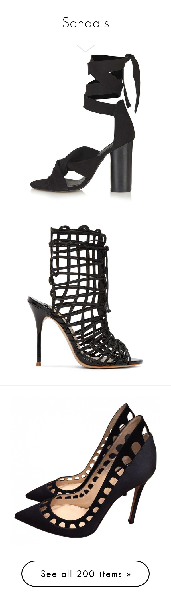 """""""Sandals"""" by majo-cote on Polyvore featuring shoes, sandals, heels, topshop, black, black suede sandals, chunky high heel sandals, black heel sandals, thick heel sandals y chunky heel shoes"""