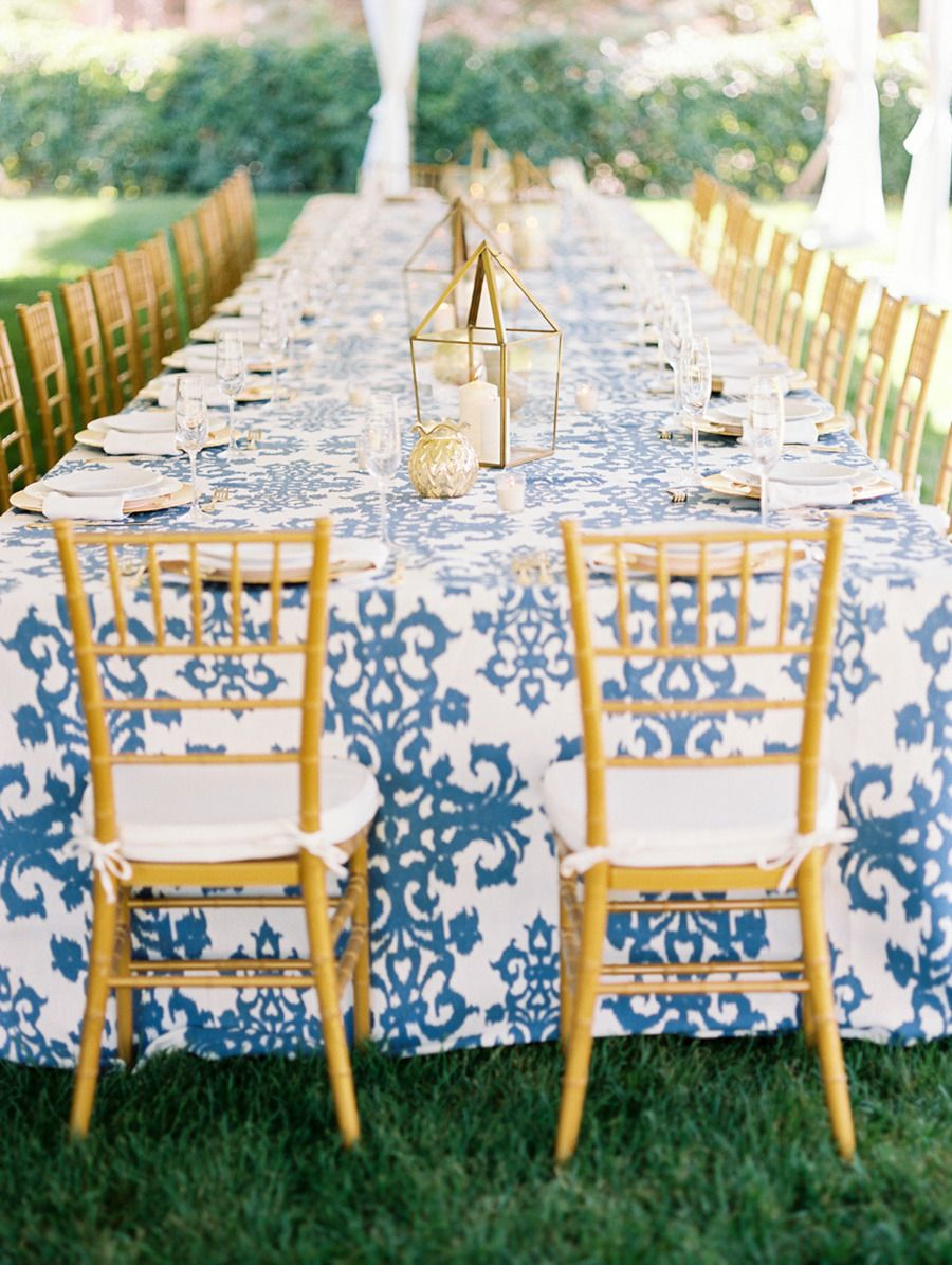 elegant backyard summer wedding casablanca blue gold and dark brown