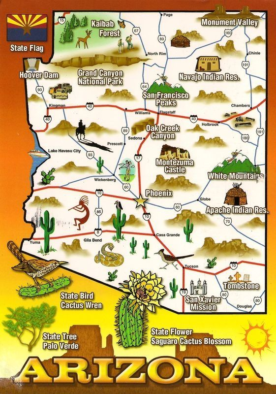 Arizona Points Of Interest Map.Map Of My Home State Me Too Travel Arizona By Multicityworldtra