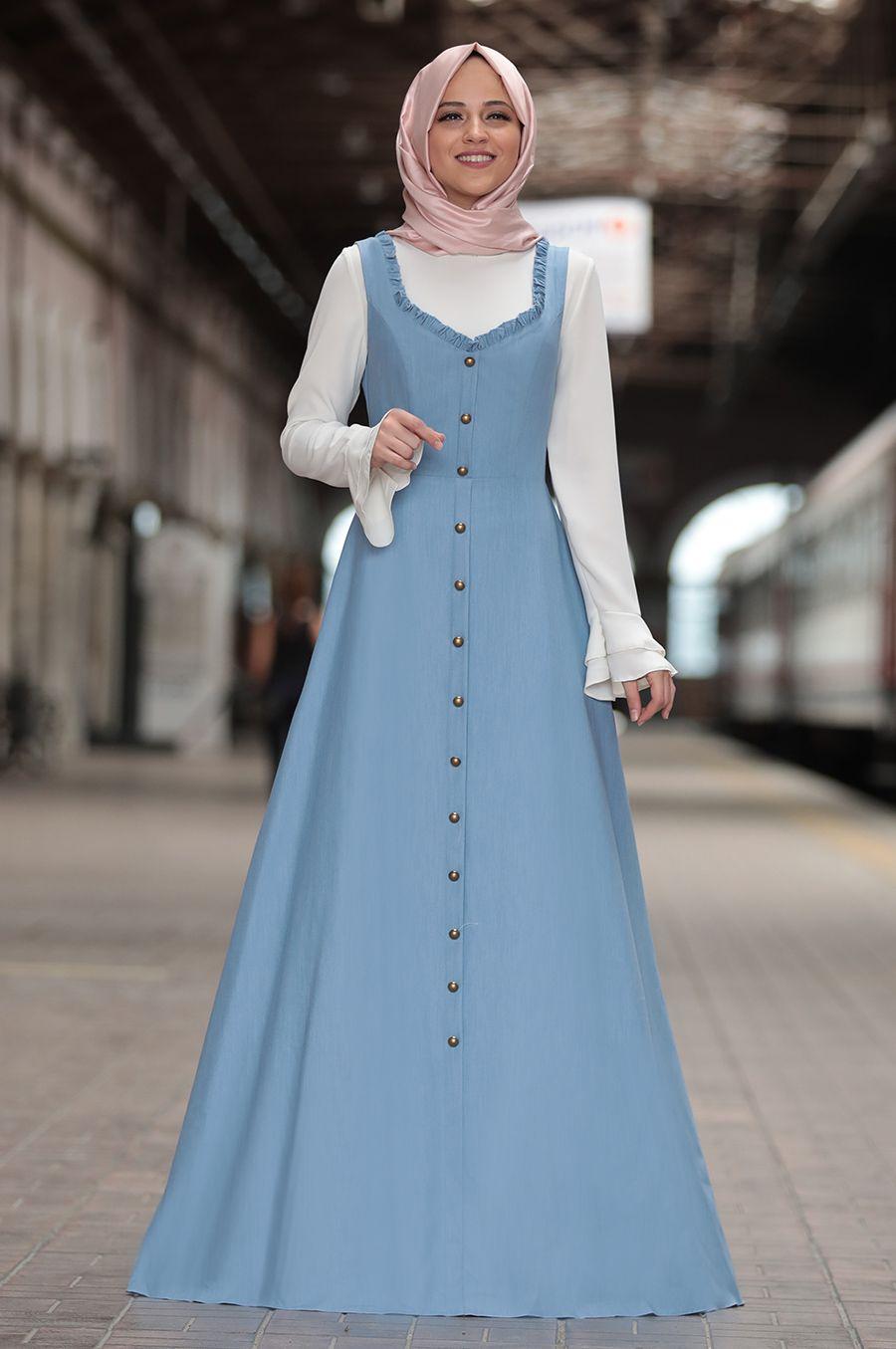 Al Marah Eylul Jile Elbise Mavi Elbise Musluman Modasi Elbise Modelleri