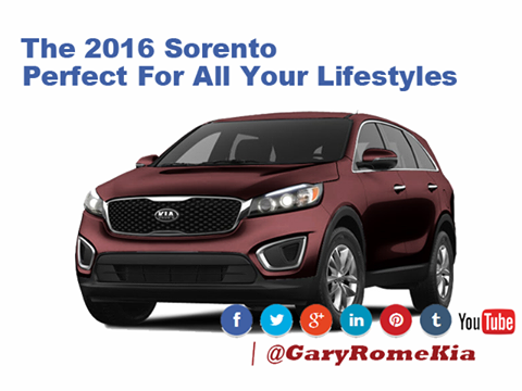 For all the lives we lead on a daily basis, there's a car for that. The newest upgrades to the 2016 Sorento will make everyone in your family happy. Check out the NY Times review here. Tell us what you think of the interior. http://kia-dealer.blogspot.com/…/kia-sorento-review-audio.h…  Www.GaryRomeKia.com or call us at (860) 253-4753