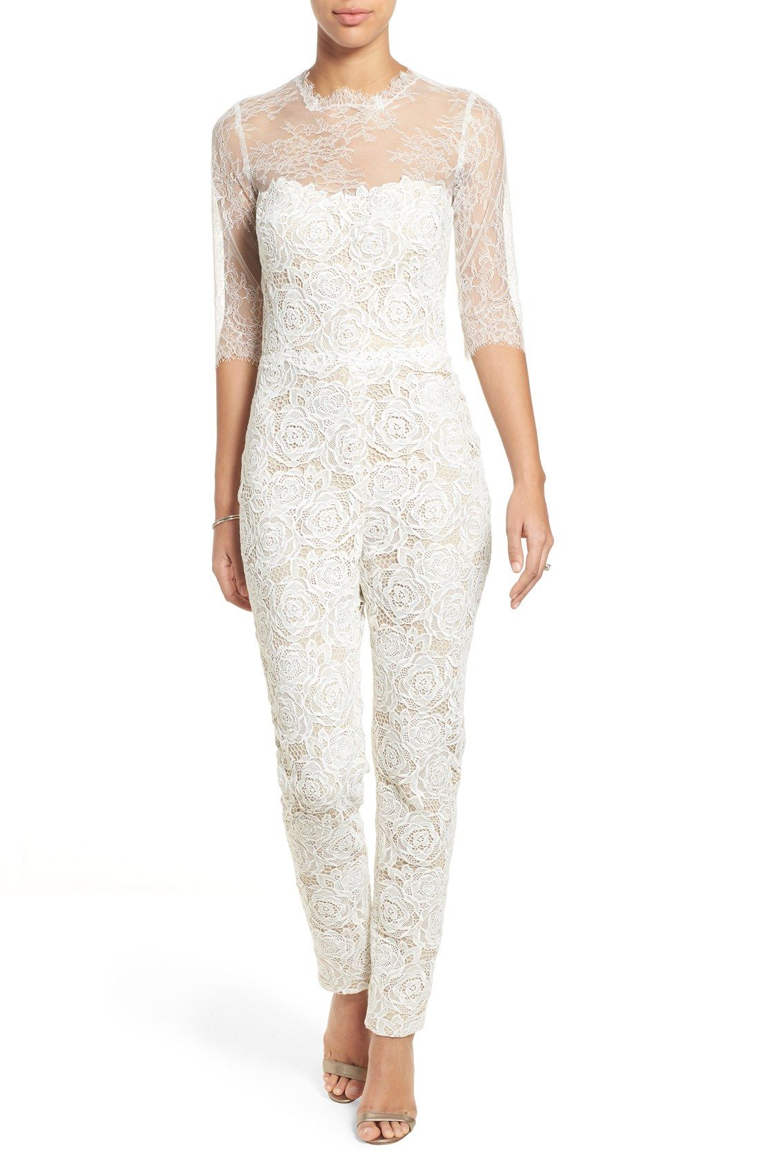 c9b3f06a61f Monique Lhuillier Ready to Wed Guipure Lace Jumpsuit available at