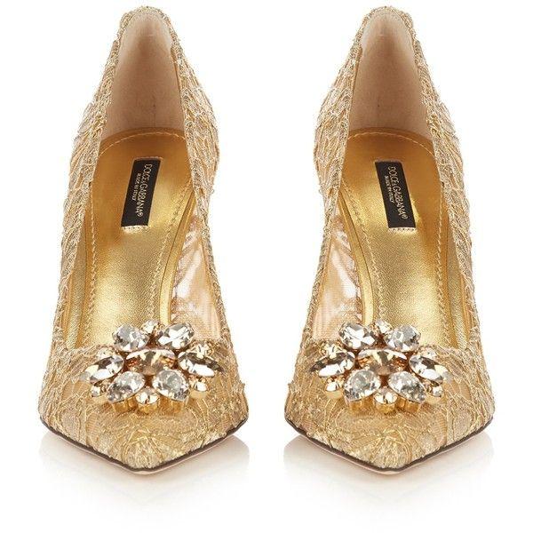 4bb3ee18f04e Dolce   Gabbana Belluci crystal-embellished lace pumps (25 920 UAH) ❤ liked