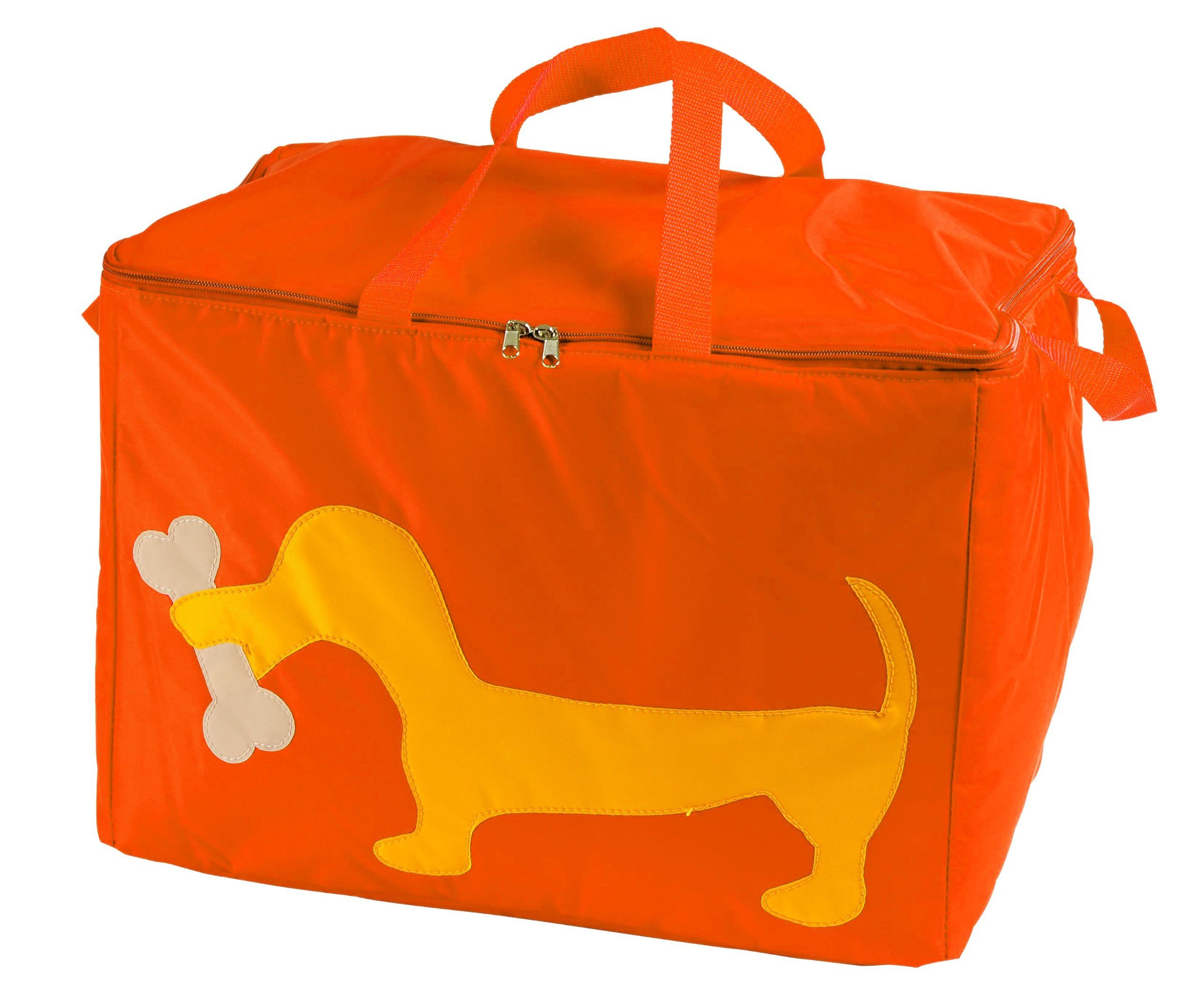 Petego United Pets Huggy Bag Italian-Designed Pet Accessory Carry Bag, Orange with Dog, 20 Inches by 12 Inches by 12 Inches