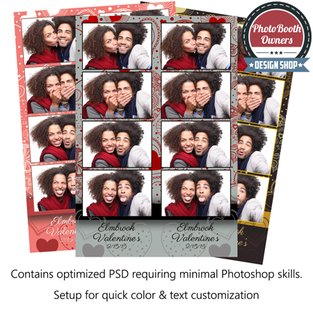 Whimsical Heart Celebration 4 Up Strips Photo Booth Template Photo