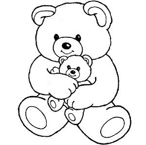 big teddy bear hugging little teddy bear coloring page kolorowanki