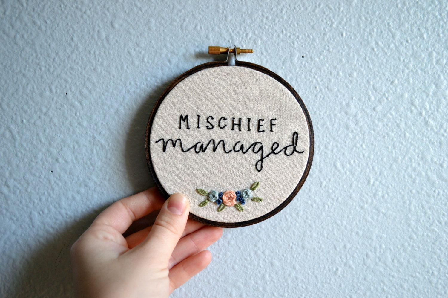 Mischief managed harry potter quote embroidery hoop art