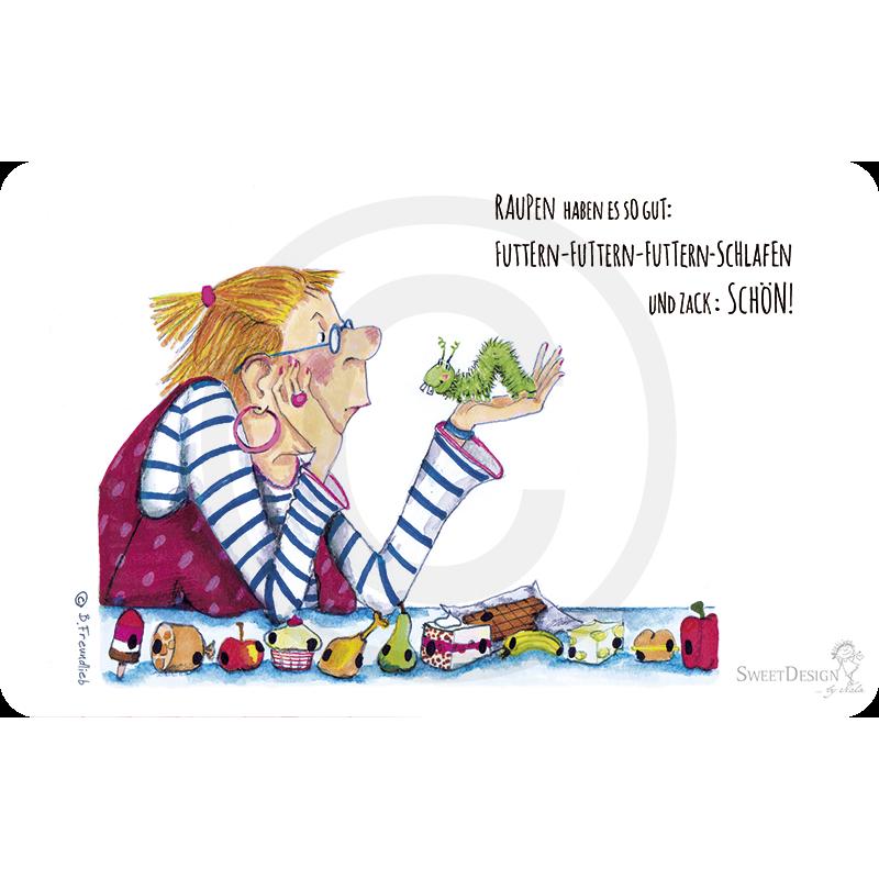 Gartenschätze: Frühstücksbrettchen von Barbara Freundlieb Raupen haben es gut