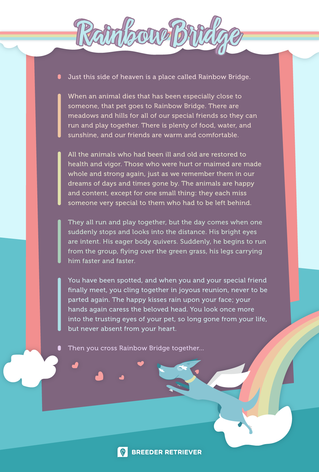 graphic relating to Rainbow Bridge Poem for Dogs Printable identify The Rainbow Bridge Poem For Canines - Puppy Heaven (Printable