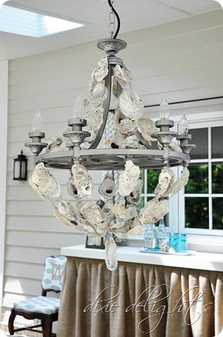 A step by step guide for a do it yourself oyster shell chandelier this diy oyster shell chandelier just became the top item on my someday craft list the creatress of this fabulous oyster shell chandeli aloadofball Images