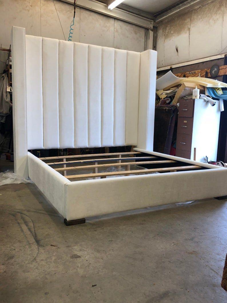 Modern Tall Headboard Platform Bed Frame California King