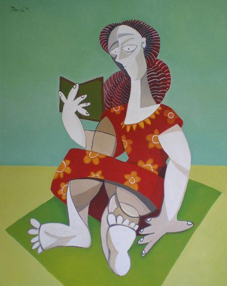 Mujer leyendo en la playa. Óleo sobre lienzo. Tamaño:73x92 cms. Año 2014