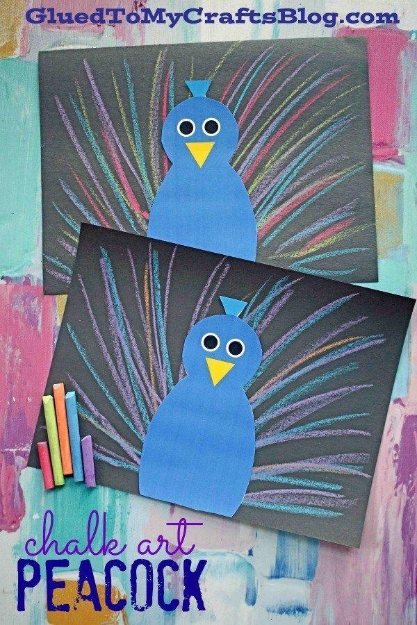 Paper Chalk Art Peacock