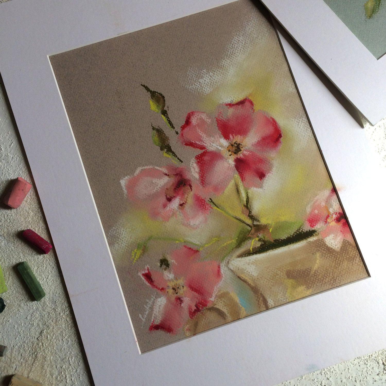 Original Pastel Drawing, Pink Flowers Still Life, Soft