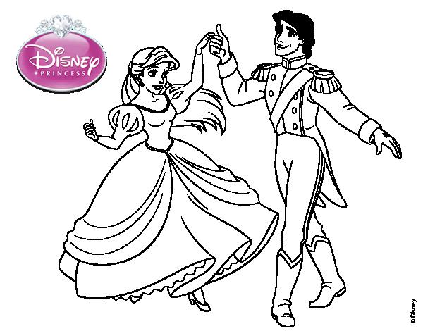 Princesas Disney Más Dibujos Para Colorear De Jasmine: Ariel Y Eric Para Colorear