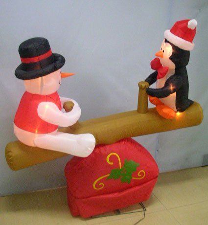 4 Feet Christmas Inflatable Santa And Penguin On Seesaw Photo Detailed About 4 Feet Christmas Inflatabl Christmas Inflatables Inflatable Santa Vintage Holiday