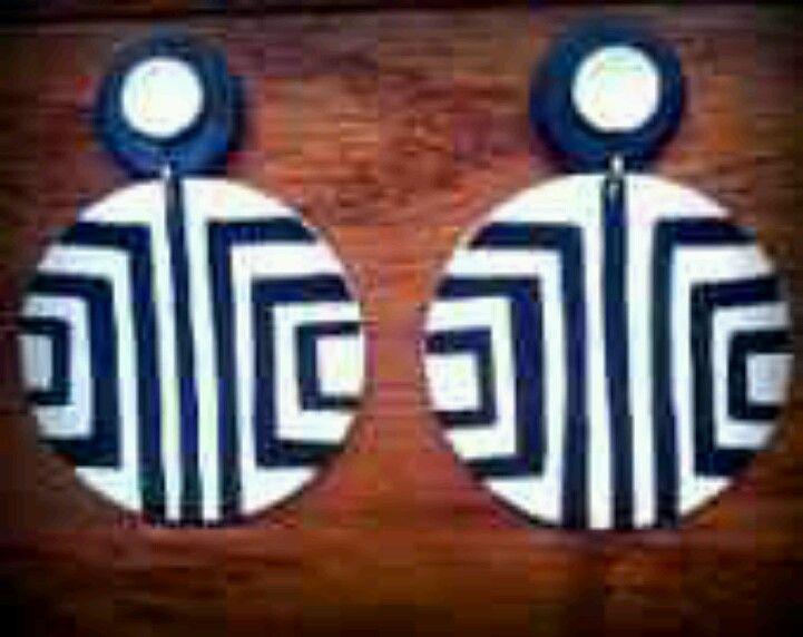 Walnut Wood Earrings Minimalist Earrings Geometric Earrings Teal Hand Painted Geometric Stud Earrings Hypoallergenic Earrings