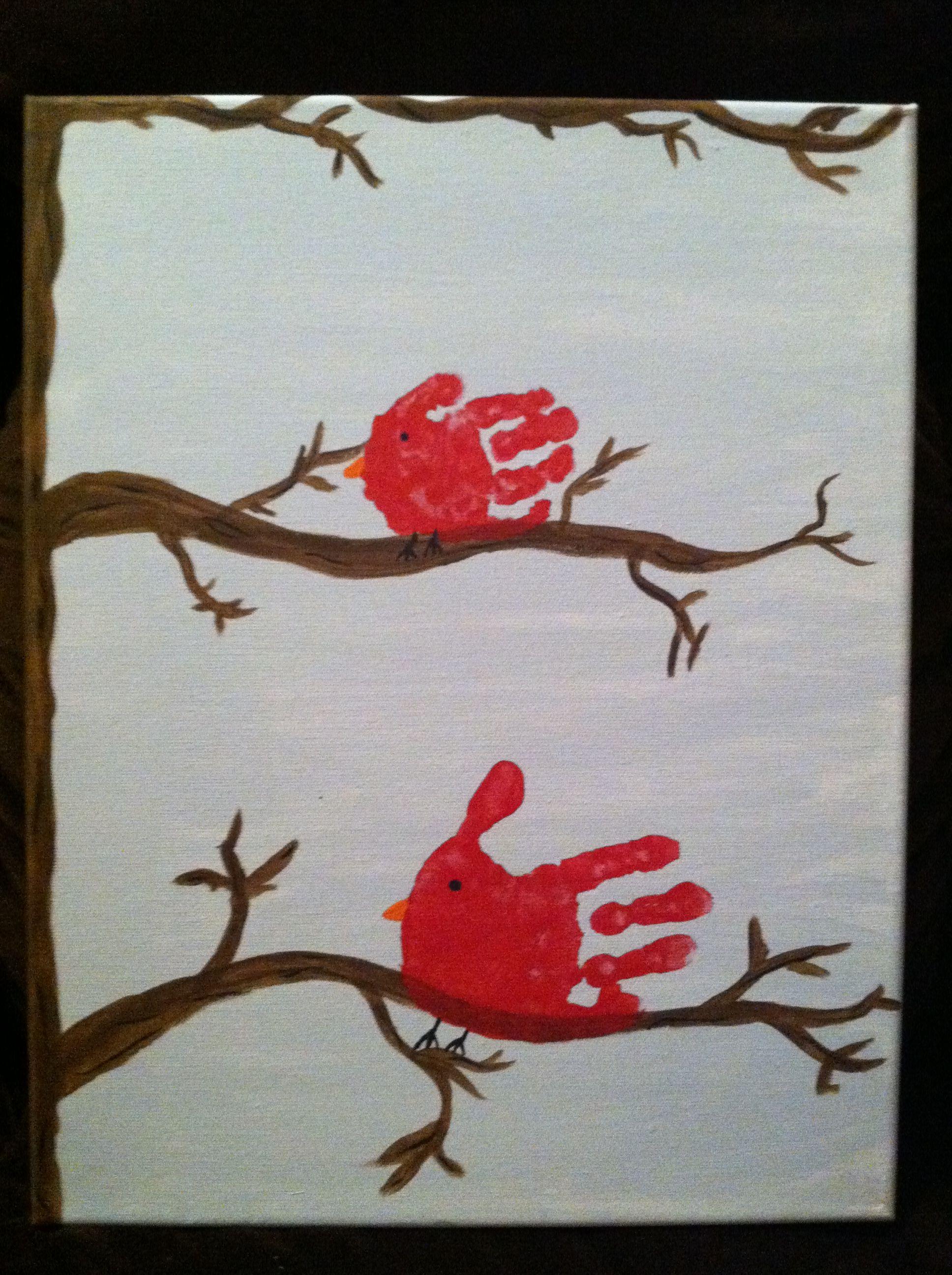 Handprint cardinal canvas | Christmas handprint crafts