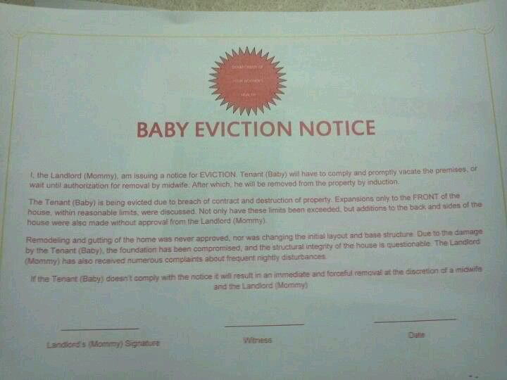 Baby eviction notice. Papers have been served.