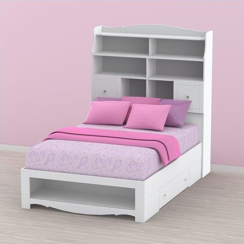 Weißes Bücherregal Kopfteil Bett Schlafzimmer Bett